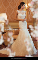 2014 Gorgeous Boat Neckline Mermaid Long Train V Backless Lace Wedding Dress