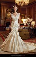 2014 Gorgeous Satin V Neck Cap Sleeves Mermaid Champagne Colored Wedding Dresses