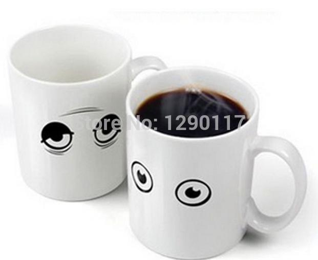 DHL fedex Novelty mug cup,wake up eyes color changing mugs, wake-up coffee cup, gift cup/Battery changing Mug(China (Mainland))