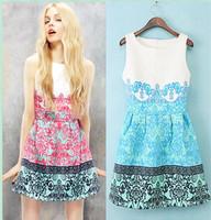 2014 spring three-dimensional print royal wind female fashion one-piece dress