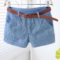 new 2014 summer women lace mid waist shorts women Flat Style solid hot short pants trousers female feminino jeans denim shorts