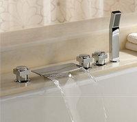 L17BB4 Modern Ceramic Plate Spool 5Pcs Bathtub Basin Sink Mixer Tap Chrome With Handspray Bath & Shower Faucets