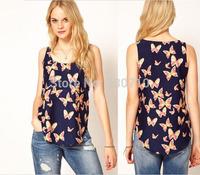 Hot sale 2014 summer women t-shirt butterfly Printing chiffon shirt round neck sleeveless camisole high quality  FZ395