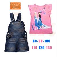 New 2014 Frozen Elsa Kids Costume Baby Girls Pink T-Shirt+Straps Jeans Children Cartoon Clothing Set calcas infantis 2-8Years