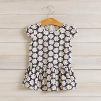 2014 New summer girls floral dress children cotton casual dress sun flower 2-8 yrs 5 pcs/lot wholesale kids clothing 1389