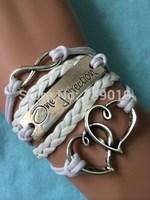Free Shipping!6PCS/LOT!Woven White Leather Wax Cord Double Heart One Direction Infinity Bracelet Trendy Women Wish Jewelry W-524
