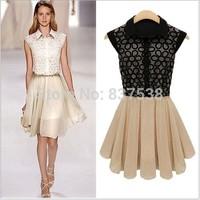 Slim Women Summer Dress 2014 New European Design Elegant Vintage Patchwork Chiffon Casual Novelty Classical Dresses