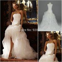 2014 New Arrival Strapless Applique Organza Ruffled High Low Wedding Dresses Vestidos de Novia New Arrival