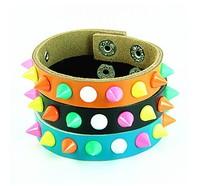 Hot Gift Rock Punk Rainbow Candy Colours Spike Rivet  Leather Bangle Cuff Bracelet Wristband Women's Girls' Gift Size Adjustable