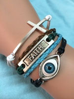 Free Shipping!6PCS/LOT!Knitted Multicolor Leather Rope Thread Charm Cuff Bracelet Trendy Men Cross Faith Angel Eye Jewelry W-532