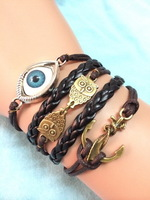 Free Shipping!6PCS/LOT!Antique Bronze Double Owl Anchor Angel Eye Charm Black Leather Rope Bracelet Perfect Men Jewelry W-531
