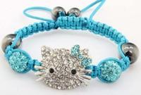 NEW Item Lots Mix Colors wholesale DHL/EMS Free Shipping  micro pave cz Disco Beads Crystal Women Men Shamballa Bracelet
