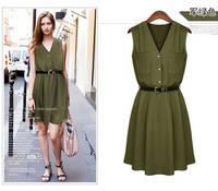 Summer Dress 2014 The Double Pocket Loose Big Yards Sleeveless Chiffon Dress Foreign Trade  Women Dress MR1-20