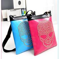 PUNK 2014 Summer New Fashion Skull Rivet Messenger Bag Women Shoulder Crossbody Bag Small Lady Studded bag Bolsas Sac DESIGUAL