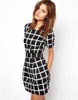 Summer dress 2014 new fashion vintage style plaid printed dress women short-sleeved O-neck slim casual dresses womens