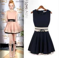 Women New 2014 Fashion Spell Color Flounced Dress Waist  Dress Summer Dress MR1-19