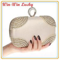 New 2014 Fashion Design Diamond Finger Ring Velvet Party Evening Bag Luxury Rhinestone Day Clutch wedding Bridal Handbag Purse