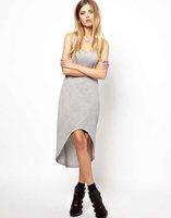 Cotton vest dress 2014 summer sleeveless O-neck dress women gray colour irregular bottom casual simple dresses womens