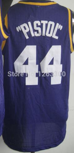 Pistol pete bon #44 maravich utah maravich throwback maillot de basket rétro vintage broderie jersey, livraison gratuite gros