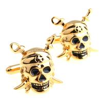 Novelty Men's fashion cufflinks vintage gold Pirate silver skull good  quality  star cuff links cuffs  free shipping