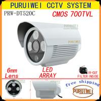 """100% Original 1/4""""CMOS 700TVL IR-CUT Filter 3pcs Array IR LED outdoor/indoor waterproof CCTV Camera with bracket.Free shipping"""