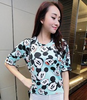 2014 new fashion women clothing t-shirt casual girl shirts summer shirt Mickey Mouse print casual crop top tees micky tops