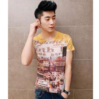 Free shipping! 2014 men's fashion metropolis floor printing Slim V-neck T-shirt