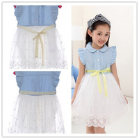 High quality 2014 New Fashion Cute Girls Dress White Denim + Voile Patchwork Dresses Children Cowboy Lace Dress free shipping