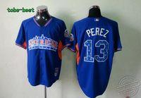 Baseball 2013 All Star Kansas City Royals #13 Salvador Perez Blue Jersey Baseball uniform Baseball jerseys for men
