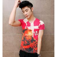 Free shipping! 2014 Men's Cross police sharpshooter type printing Slim V-neck T-shirt