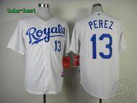 Kansas City Royals #13 Salvador Perez White Baseball jerseys Baseball jerseys