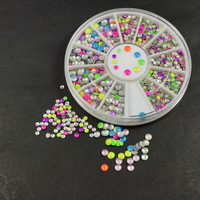 Round 2MM 3MM Mix Candy Colors Metal Studs with 6CM Wheel Nail Art 3D Decor Cellphone Cover Handcraft DIY Design Accessories