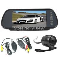 "Mini Waterproof  Wireless Car Rear View Kit Reverse Backup Parking Camera 170 Degree wide Angle+ 7"" LCD Mirror Monitor"