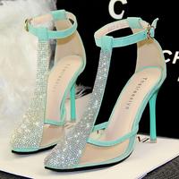 2014 high fashion designer brands sexy women thin high heel sandals,Girls party T-belt rhinestone sandals,female footwear