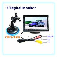 5inch Car Monitor Display,2 video inputs,DC12V,2 brackets