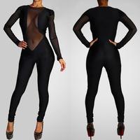 Women Rompers Womens Jumpsuit 2014 New Fashion Geometric Long Sleeve Bandage Jumpsuit Bodycon Celebrity Sexy Jumpsuits Women
