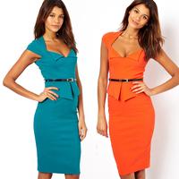 Women Clothes Summer Dress 2014 Cotton Sheath Casual Dress Short Sleeve-Length V-Neck Ruffles Women Dress N13