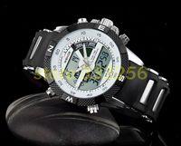 1pcs  SHARK LCD Men Sport Quartz Digital Watch White Black Dail Stainless Steel Watch