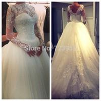 Vestidos De Novia New Arrival Elegant High Neck Long Sleeve Beaded Lace Ball Gown Muslim Wedding Dresses 2014 Bridal Gowns