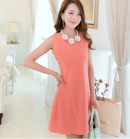 free shipping 2014 summer women's candy color slim plus size dress o-neck sleeveless breif basic skirt one-piece dress
