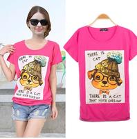 2014 New Fashion Summer Dog women's Bronzier Short-sleeve Slim Cotton T-shirts