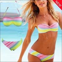 New 2014 Hot Sale Fashion Print Bikinis Set Women Push Up Bikini Swimwear Color Rainbow Bikini Brazilian High Waist Bathing Suit