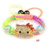 wholesale DHL/EMS Free Shipping Shamballa Bracelet  Kids Child Girl  gift jewelry 10mm micro pave cz Disco Beads Crystal
