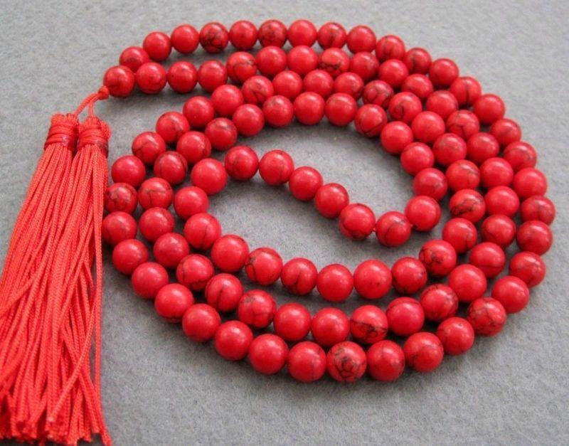 detalhes sobre livre p&p tibetano 108 vermelho contas turquesa colar mala oração budista(China (Mainland))