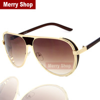 2014 New Arrival Fashion Men Brand Designer Sunglasses Men Steampunk Sunglasses Gold Metal Frame High quality