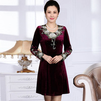 XL-4XL 3COLOR New Arrival 2014 Spring Autumn Women's One-piece Dress Casual Elegant Fashion Long-sleeve Mother Dress Top Quality