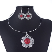 Vintage Silver Coral Turquoise Sun Flowers Necklace and Earring Jewelry Set 2014 New Fashion Jewelry Free Shipping