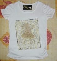 TXS003 fashion beading girl cotton t shirt women