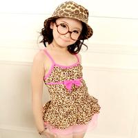 2014 child swimwear female leopard print one-piece dress fashion hot spring swimsuit