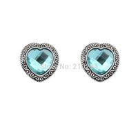 Fashion love vintage gem stud earring women summer popular all-match transparent stud earring cute